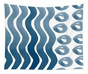 Waves And Pebbles- Abstract Watercolor In Indigo And White Tapestry