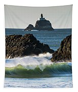 Waves Breaking At Ecola State Park Tapestry