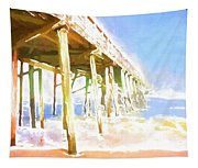 Waves By The Pier Tapestry