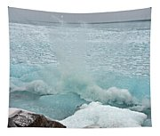 Waves Of Pancake Ice Crashing Ashore Tapestry