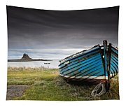 Weathered Boat On The Shore Tapestry