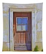 Weathered Rustic Red Wood Door Of Portugal Tapestry