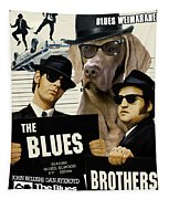 Weimaraner Art Canvas Print - The Blues Brothers Movie Poster Tapestry