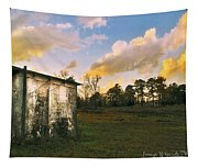 Old Well House And Golden Clouds Tapestry