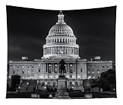West Front Of The National Capitol Bw Tapestry