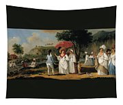 West Indian Landscape With Figures Promenading Before A Stream Tapestry
