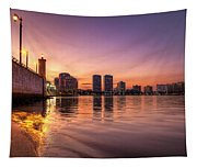 West Palm Beach Skyline At Dusk Tapestry