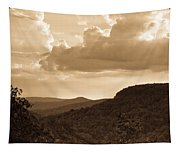 Western Mountain Scene In Sepia Tapestry