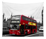 Westminster And Red Bus Tapestry