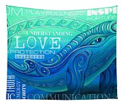 Whale Totem Wordart Tapestry