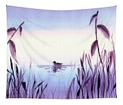 When The Sky Melts With Water A Peaceful Pond Tapestry