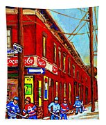 When We Were Young - Hockey Game At Piche's - Montreal Memories Of Goosevillage Tapestry