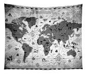 Whimsical World Map Bw Tapestry