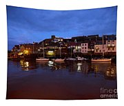 Whitby Lower Harbour At Night Tapestry