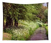 White Bloom Along The Dutch Canal. Netherlands Tapestry