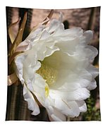 White Cactus Bloom Tapestry