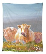 White Cows Painting Tapestry