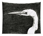 White Egret Art - The Great One - By Sharon Cummings Tapestry