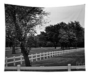 White Fence On The Wooded Green Tapestry