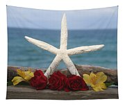 White Finger Starfish And Flowers Tapestry