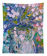 White Flower Abstract Tapestry