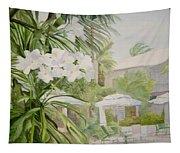 White Flowers Aruba Tapestry