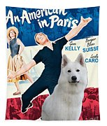 White German Shepherd Art Canvas Print - An American In Paris Movie Poster Tapestry