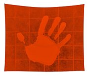 White Hand Orange Tapestry