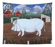 White Hog And Roses Tapestry