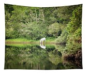White Horse Drinking Water Tapestry