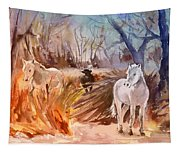 White Horses And Bull In The Camargue Tapestry