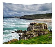 White Horses At Perranporth Beach  Tapestry