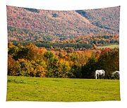 White Horses Grazing With View Of Green Mtns Tapestry