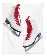 White Ice Skates With Red Laces Tapestry