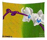 White Orchids On Yellow And Green Tapestry