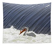 White Pelican Over The Dam Tapestry