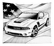 White Roush Mustang Tapestry