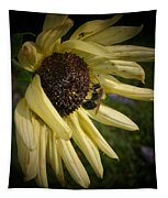 White Sunflower And Bee Tapestry