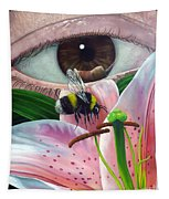 White Tailed Bumble Bee Upon Lily Flower Tapestry