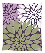 White Violet Green Peony Flowers Tapestry