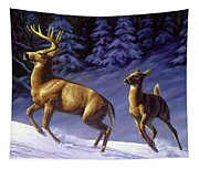 Whitetail Deer Painting - Startled Tapestry