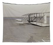 The Wright Brothers Wilbur In Prone Position In Damaged Machine Tapestry