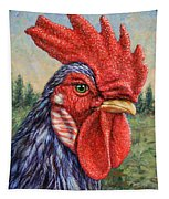 Wild Blue Rooster Tapestry