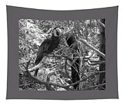 Wild Hawaiian Parrot Black And White Tapestry