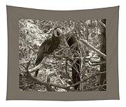 Wild Hawaiian Parrot Sepia Tapestry