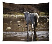 Wild Mustang On The River  Tapestry