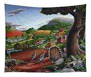 Wild Turkeys Appalachian Thanksgiving Landscape - Childhood Memories - Country Life - Americana Tapestry