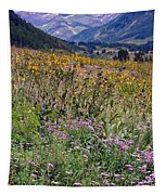 Wildflowers And Mountains  Tapestry