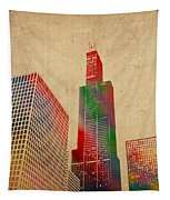 Willis Sears Tower Chicago Illinois Watercolor On Worn Canvas Series Tapestry by Design Turnpike