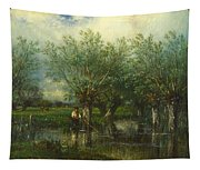 Willows With A Man Fishing Tapestry